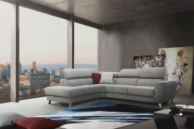 Milton Modern Sectional Sofa with 1 Electric Recliner in Grey