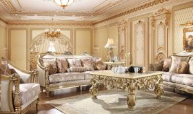 Milton Traditional Living Room Set in Beige & Gold
