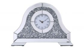 """Minisink Contemporary 15.7"""" Crystal Table Clock in Silver"""