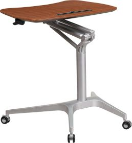 Mobile Sit-Down, Stand-Up Mahogany Computer Desk with 28.25''W Top (Adjustable Range 29'' - 41'') [NAN-IP-10-GG]