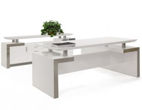 Pasadena Modern Office Desk Set in White Lacquer