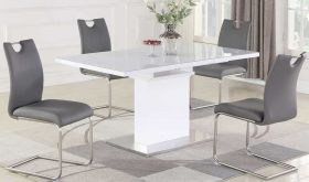 Monga Casual Dining Room Set in Gloss White & Gray