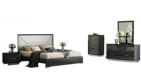 J&M Monte Leone Bedroom Set in Dark Grey