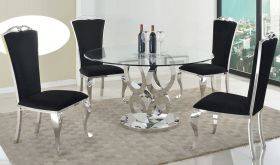 Montrose Casual Dining Room Set in Clear & Black