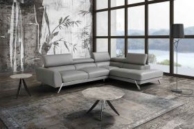 Mood Italian Leather Sectional Sofa in Grey with Left Facing Chaise
