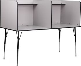 Double Wide Study Carrel with Adjustable Legs and Top Shelf in Nebula Grey Finish [MT-M6222-GRY-DBL-GG]