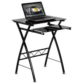 Black Tempered Glass Computer Desk with Pull-Out Keyboard Tray [NAN-CP-60-GG]