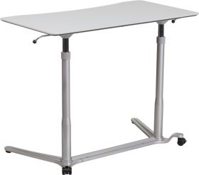 "Sit-Down, Stand-Up Light Gray Computer Desk with 37.375""W Top (Adjustable Range 29"" - 40.75"") [NAN-IP-6-1-GG]"