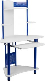 Blue Corner Computer Desk with Hutch [NAN-JN-2705-BL-GG]