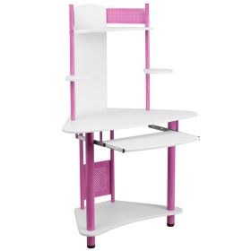 Pink Corner Computer Desk with Hutch [NAN-JN-2705-PK-GG]