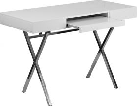 "44.25""W x 21.625""D White Computer Desk with Keyboard Tray and Drawers [NAN-JN-2960-GG]"