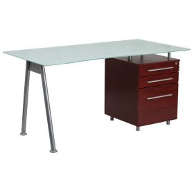 Glass Computer Desk with Mahogany Three Drawer Pedestal [NAN-WK-021-MAH-GG]