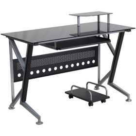 Black Glass Computer Desk with Pull-Out Keyboard Tray and CPU Cart [NAN-WK-059-GG]