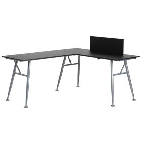 Black Laminate L-Shape Computer Desk with Silver Frame Finish [NAN-WK-110-BK-GG]