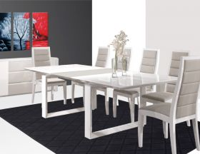 Kawaihae Modern Dining Room Set in White & Grey