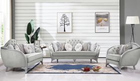 Natalia Traditional Living Room Set in Gray