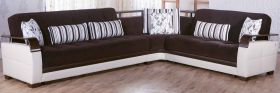 Istikbal Natural Convertible Sectional Sofa in Colins Brown