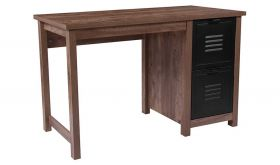 New Lancaster Crosscut Wood Grain Computer Desk with Metal Drawers in Oak
