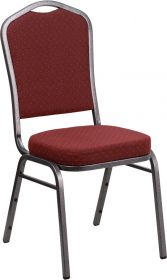 HERCULES Series Crown Back Stacking Banquet Chair with Burgundy Patterned Fabric and 2.5'' Thick Seat - Silver Vein Frame [NG-C01-HTS-2201-SV-GG]