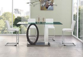Nicia Modern Dining Room Set in Gray & White