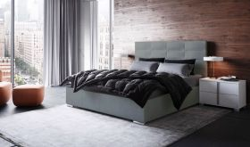 Nicolau Modern Upholstered Storage Bed in Light Gray
