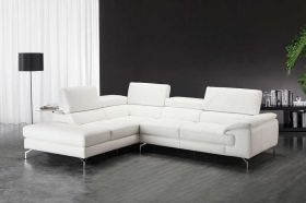 J&M Nila A973 Premium Leather Sectional Sofa in White with Left Facing Chaise