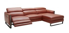 Nino Pumpkin Italian Leather Motion Sectional in Left Facing Chaise - Lifestyle