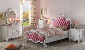 Norfolk Traditional Bedroom Set in Antique White & Pink