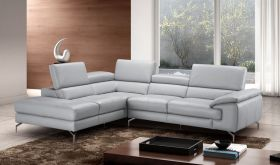 J&M Olivia A973 Premium Leather Sectional Sofa in Element Grey with Left Facing Chaise