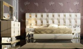 Oneida Modern Bedroom Set in White & Beige
