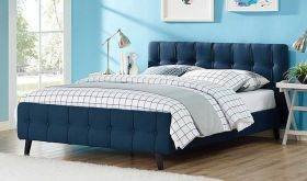Ophelia Modern Fabric Queen Bed in Azure
