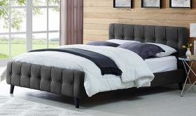 Ophelia Modern Fabric Queen Bed in Gray