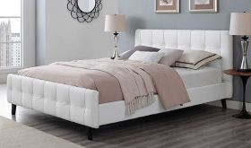 Ophelia Modern Vinyl Queen Bed in White
