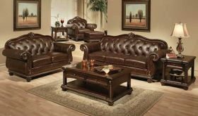 Pacific Traditional Leather Living Room Set in Espresso