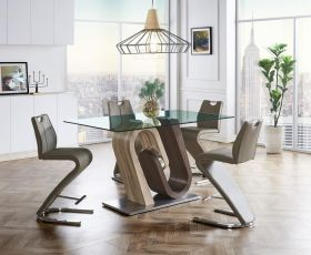Paltz Modern Dining Room Set in Oak & Walnut