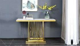 Pandora Traditional  Console Table in White/Golden