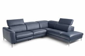Pauline Leather Sectional Sofa with One Power Recliners in Blue