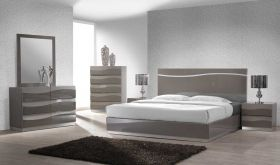 Pedro Modern Bedroom Set in Gloss Gray