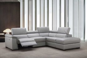 J&M Perla Premium Leather Sectional Sofa in Grey with Left Facing Chaise