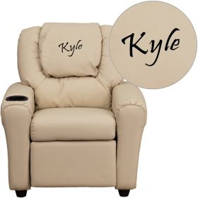 Personalized Beige Vinyl Kids Recliner with Cup Holder and Headrest [DG-ULT-KID-BGE-EMB-GG]
