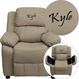 Personalized Deluxe Padded Beige Vinyl Kids Recliner with Storage Arms [BT-7985-KID-BGE-EMB-GG]