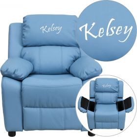 Personalized Deluxe Padded Light Blue Vinyl Kids Recliner with Storage Arms [BT-7985-KID-LTBLUE-EMB-GG]