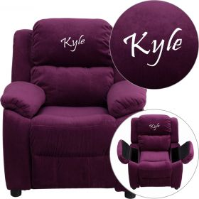Personalized Deluxe Padded Purple Microfiber Kids Recliner with Storage Arms [BT-7985-KID-MIC-PUR-EMB-GG]