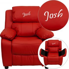 Personalized Deluxe Padded Red Vinyl Kids Recliner with Storage Arms [BT-7985-KID-RED-EMB-GG]