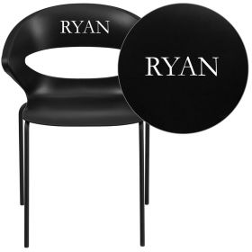 Personalized HERCULES Series 440 lb. Capacity Black Stack Chair [RUT-4-BK-EMB-VYL-GG]