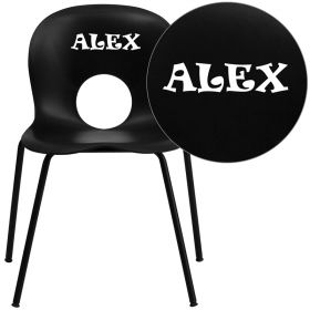 Personalized HERCULES Series 770 lb. Capacity Designer Black Plastic Stack Chair with Black Frame [RUT-NC258-BK-EMB-VYL-GG]