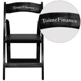 Personalized HERCULES Series Black Wood Folding Chair with Vinyl Padded Seat [XF-2902-BK-WOOD-EMB-VYL-GG]