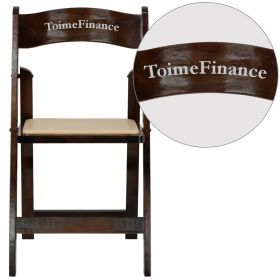 Personalized HERCULES Series Fruitwood Wood Folding Chair with Vinyl Padded Seat [XF-2903-FRUIT-WOOD-EMB-VYL-GG]