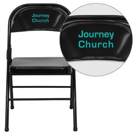 Personalized HERCULES Series Triple Braced & Double Hinged Black Metal Folding Chair [HF3-MC-309AS-BK-EMB-VYL-GG]