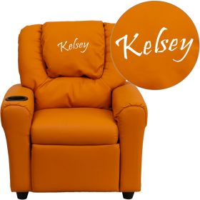Personalized Orange Vinyl Kids Recliner with Cup Holder and Headrest [DG-ULT-KID-ORANGE-EMB-GG]